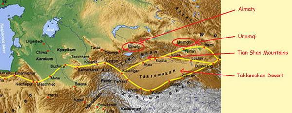 Map showing Tian Shan Mountain Range