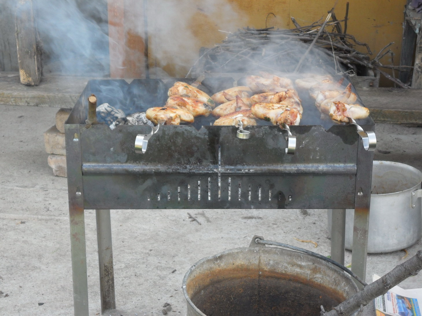 Chicken on wood-fired barbecue