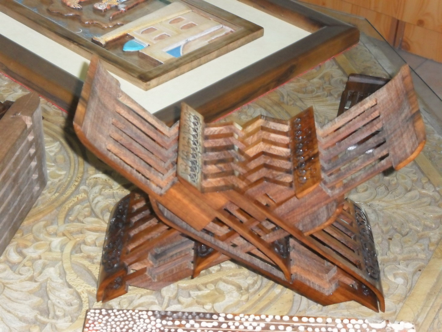 Folding Koran stand (carved from a single piece of wood)