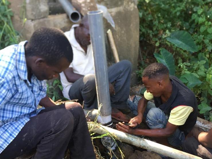 Pump being installed in Kenya